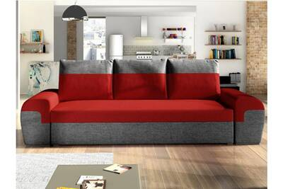 meilleure sélection d7f5b b9f83 Canapé 3 places convertible gaby en tissu - bicolore rouge et anthracite