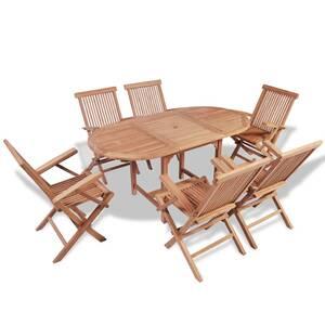 Mobilier de jardin serie thimphou mobilier à dîner d\'extérieur 7 pcs bois  de teck solide