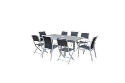 Ensemble modulowood plateau déco bois blanc t4/8+f4+c4 ensemble table  modulable 4 à 8 personnes + 4 chaises + 4 fauteuils 600315