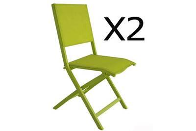 Lot de 2 chaises pliantes en texaline/alu coloris vert anis - dim : 47 x 60  x h35cm