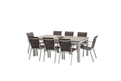 Ensemble table + chaises tulum aluminium blanc - t8+f8
