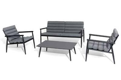 Salon de jardin Pegane Salon 4 pièces en aluminium coloris noir ...