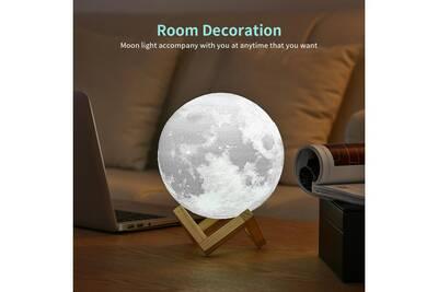 Interrupteur Bibliothèque Changement Lampe Imprimée 15cm 2 De Lune Rechargeable Chambre Couleur Tactile 3d Créative Ue3d014 Cadeau En jVGLqpSzMU