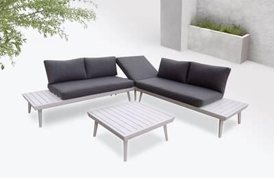 Bobochic vigo - salon de jardin en angle - 5 places - aluminium / composite  couleur - blanc / gris