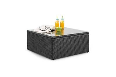 Theia table de salon de jardin élégante avec plateau en verre - design  polyrotin tressé noir