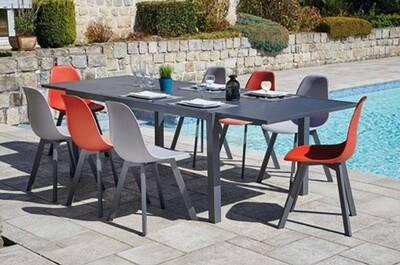 Ensemble de jardin table extensible et 8 chaises en aluminium, rouge et  taupe -pegane-