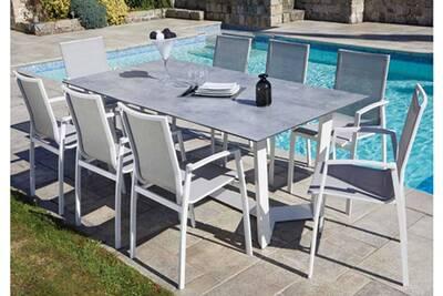 Table De Jardin Aluminium Blanc.Ensemble De Jardin En Aluminium Avec Une Table Grise Clair Et 8 Fauteuils Blanc