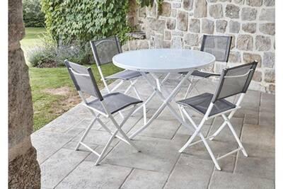 Ensemble de jardin table ronde blanche + 4 chaises pliantes anthracites  -pegane-