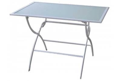 Table de jardin pliante en acier de couleur blanche - dim : 141.5 x 80 x  72cm -pegane-
