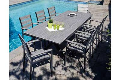 Table de jardin Pegane Table extensible en aluminium anthracite ...