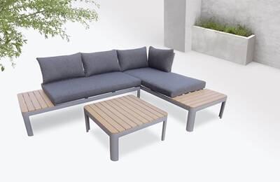 Bobochic ibiza - salon de jardin en angle - 4 places - aluminium /  composite couleur - gris