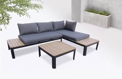 Bobochic ibiza - salon de jardin en angle - 4 places - aluminium /  composite couleur - noir / gris