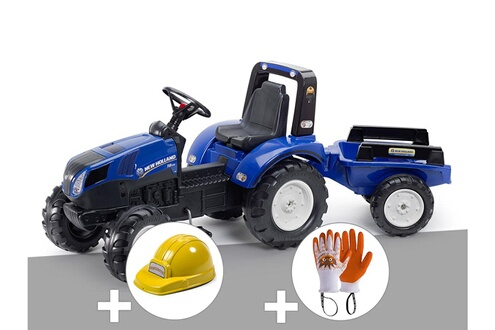 Tracteur enfant new holland t8 + remorque + casque + gants