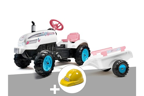 Tracteur à pédales butterfly farmer avec capot ouvrant + remorque + casque
