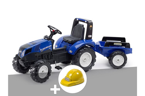 Tracteur enfant new holland t8 + remorque + casque