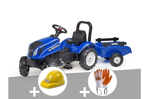 Tracteur enfant new holland + remorque + casque + gants
