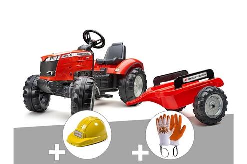 Tracteur à pédales massey ferguson s8740 rouge + remorque + casque + gants