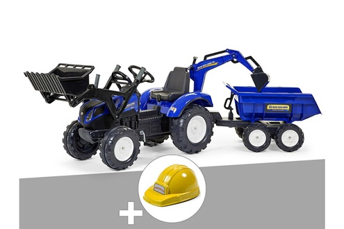 Tractopelle enfant new holland t8 + excavatrice + dumper maxi + casque