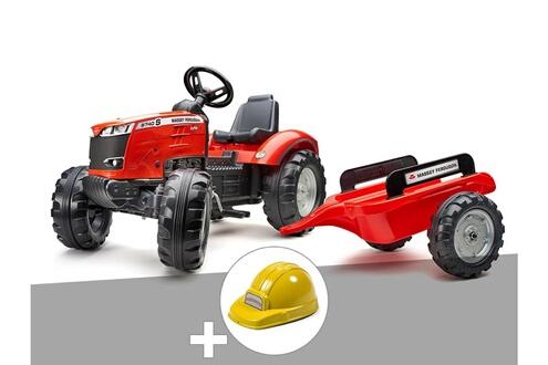 Tracteur à pédales massey ferguson s8740 rouge + remorque + casque