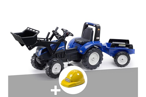 Tractopelle enfant new holland t8 + remorque + casque
