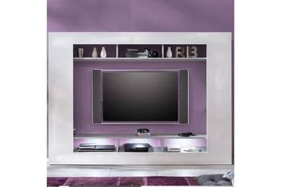 Ensemble Television Design Blanc Laque Et Couleur Beton Gris Erwan