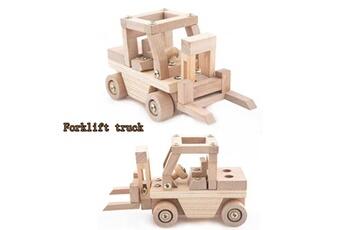 Accessoires pour la voiture Generic Trend diy toy creative wooden forklift building kit children's gift car917