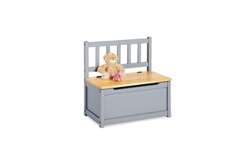 Coffre à jouets Pinolino Coffre a jouets en bois avec banc et dossier fenna gris naturel