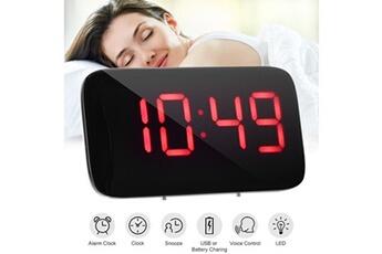 344e929414 Réveil Vibrant Alarme led rouge grand écran heure horloge contrôle vocal  snooze 5 ah604 Xcsource
