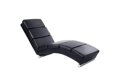 Chaise Longue Transat Fauteuil De Relaxation En Simili Cuir Noir Helloshop26 1701003