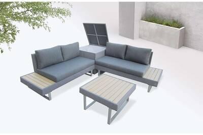 Bobochic palma - salon de jardin en angle 5 places - aluminium / composite  - coffre couleur - gris