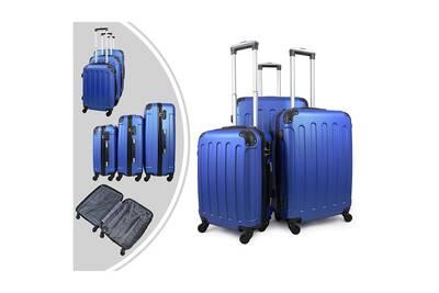 code promo 1f817 462d4 Set de valises, bagages pour voyage, 51 61 71 cm, bleu, coins protégés,  abs, matériau: plastique abs