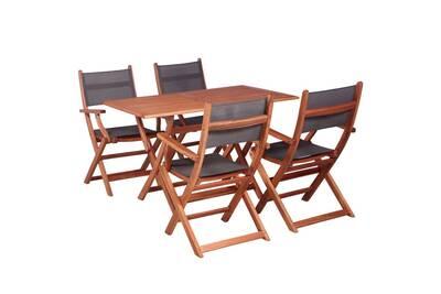Meubles de jardin famille bujumbura mobilier à dîner de jardin 5 pcs bois  d\'eucalyptus et textilène