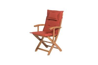 Salon de jardin Beliani Chaise en bois avec coussin rouge brique ...
