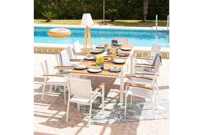 Salon de jardin 10 places aluminium blanc et bois composite maelig