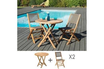 Ensemble en teck table ronde 80 cm + 2 chaises pliantes - gardena