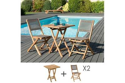Salon de jardin Maisonetstyles Ensemble en teck table carrée 60x60 ...