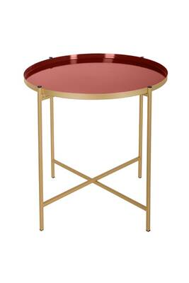 Table A Cafe En Metal Kylian Diam 48 Cm Marron Terracotta