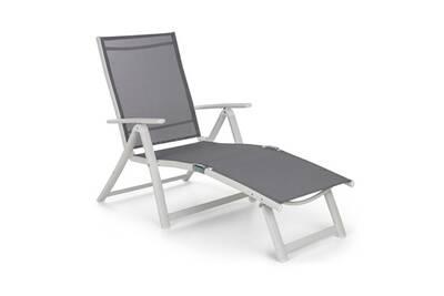 Lounge Chaise Aluminium De Pomporto Soleil Transat Pvcamp; Longue Bain Blancgris Réglable 1FTclJK