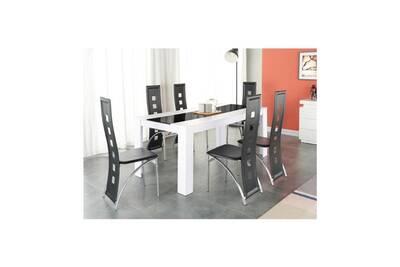 Damia ensemble table a manger 6 a 8 personnes + 6 chaises contemporain  blanc et verre trempé noir - l 180 x l 90
