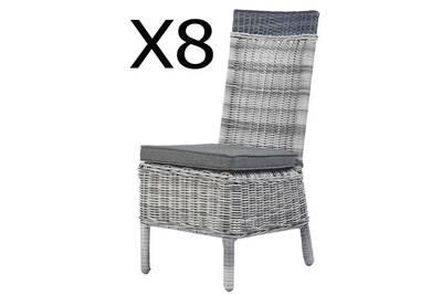 Lot de 8 chaises en alumium et résine tressé, avec coussins pegane