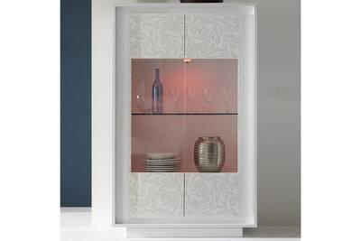 Meuble De Cuisine Sofamobili Vitrine Blanc Laque Mat Avec Motifs Fleurs Belladone Darty