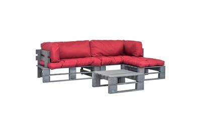 Canapés de jardin palette 4 pcs coussins rouge bois gris fsc