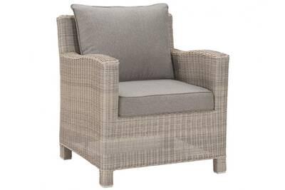 Lot de 2 fauteuils olinda résine tressée beige et coussin taupe