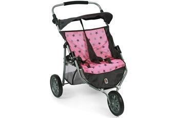 Accessoires de poupées Bayer Chic 2000 Bayer chic 2000 697 83 poussette jogger 3 roues pour poup?es jumelles - coloris 83