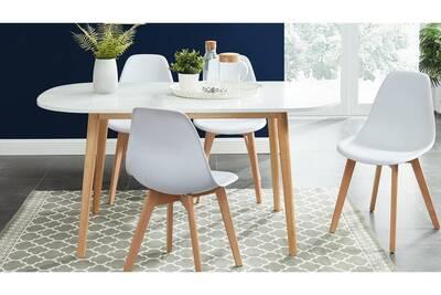 Table Homifab Table A Manger Scandinave Blanc Et Bois 160x80x75 Cm