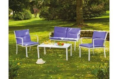 Salon détente lilas 1 canapé + 2 fauteuils + 1 table