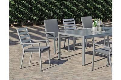 Salon De Jardin Hevea Table Et Fauteuils En Aluminium 8 Personnes