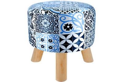 nouvelle arrivee 74e22 b3e64 Tabouret pouf repose pied imprimé gatsby bleu pu 31 x 36cm