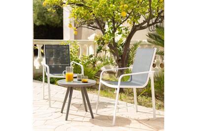 Lot de 2 fauteuils emp alu blanc/textilène gris anthracite modena