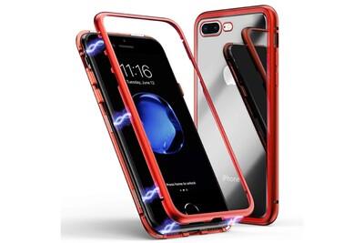 Coque magnétique rouge verre trempé pour apple iphone 8 plus [phonillico®]